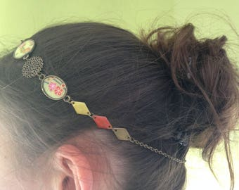 Head band, bronze head jewel and green and floral Japanese paper.