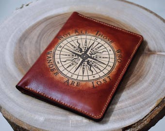 Compass - Leather Passport Wallet/Passport Cover/Passport Holder/Customized passport holder/travel accessories/Birthday gift/Gift for her