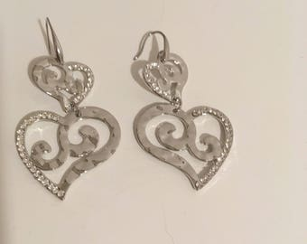 Earrings heart Mexican color silver, ex voto, mexican sacred heart