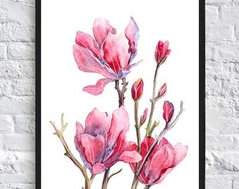 Watercolor red flower print flower poster flower art botany illustration flower wall art