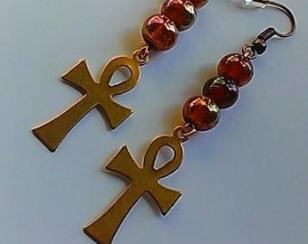 Copper 'ankh' dangle earrings