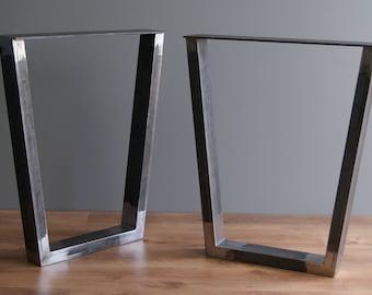 Trapezoid steel table legs, table base, desk legs, desk base (SET OF 2)