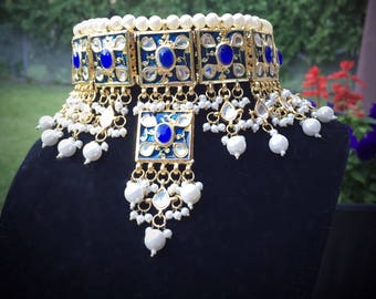 Blue gold Bollywood Pearl and Crystal Rhinestone Kundan Indian Jewelry Polki Earrings and Necklace Multilayer Set/ kundan Jewelry