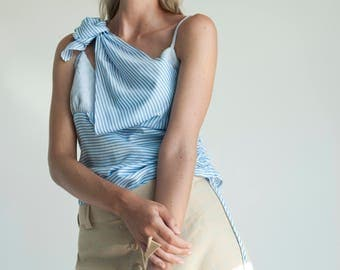 Striped blue deconstructed top