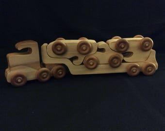 Wooden truck, wooden car, car carrier, handmade trucks