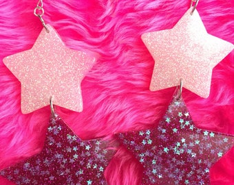 Double sparklt stars pink and white earrings