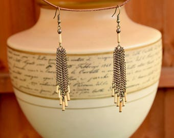 Long Bohemian Earrings with Bamboo and Metal