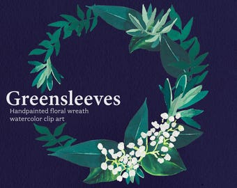 Watercolor Wreath clipart / floral printable graphics / Christmas wreath art / holiday illustration / Greensleeves Wedding print