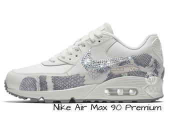 Womens Nike Air Max 90 Premium - Swarovski Nike - BLING Nike - Bedazzled - White - Sparkly Nike - Bedazzled - Nike Bling