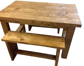 Solid Wood Handmade Table and Bench Set - Rustic
