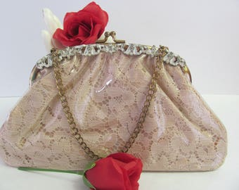 1950's EVENING BAG, Cream Lace Covered in Vinyl Clutch Purse, Lovely Vintage Evening Bag, Plastic Covered 50's Purse, Made by Jemco U.S.A.
