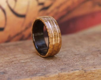 Whiskey Barrel Bentwood Ring - Wooden Wedding Ring Mens Wooden RIngs Engagement Ring Reclaimed Wood Anniversary