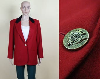 Women's Red Jacket Red Wool Blazer Vintage Wool Jacket Lipstick Red Cardigan Black Velvet Collar Padded Shoulder Medium Size