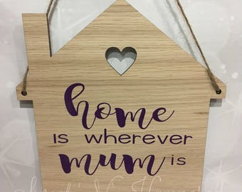 Home is wherever mum is' plaque