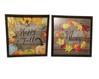 ESE Wood Frame Sign, 'Happy Fall', 'Give Thanks',  Wall Decor.