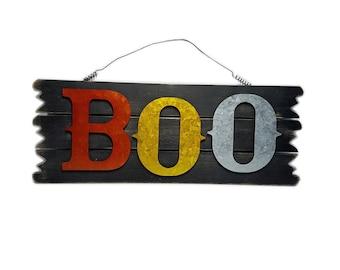 "ESE Halloween Wood sign, wall decor. door hanger ""BOO"", 18"""