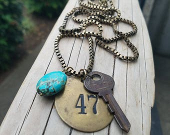 Vintage brass locker tag 417 with turquoise and vintage Key - oxidized brass chain - secrets to keep