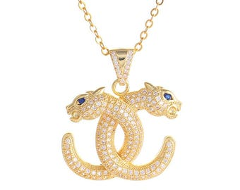 Chanel inspired necklace noble Leopard
