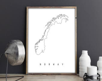Norway Map Print Etsy - Norway map to print