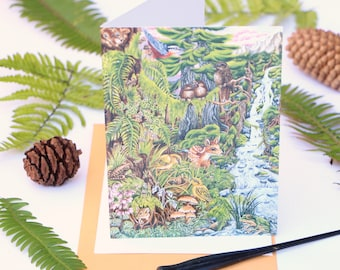 Oldgrowth Forest Art Card, Original Watercolour Painting, Rainforest, Nature, Realism, Frogs, River, Children's Art, Wildlife, West Coast