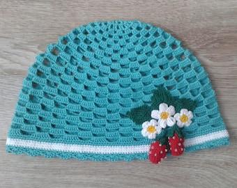 Baby hat, Crochet hat, Knit hat, Summer hat, Knitted hat, Newborn gift, Baby girl hat, Green hat, Hat with strawberries, baby bonnet, hat