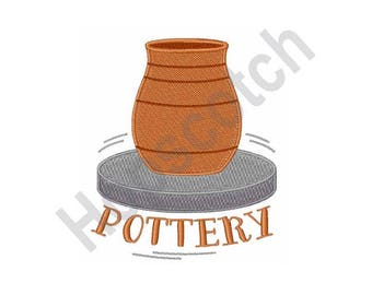 Pottery - Machine Embroidery Design - 5 X 7 Hoop, Art, Hobby, Clay