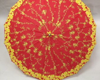 Vintage 50s 60s Red and Yellow Floral Print Lucite Handle Umbrella   New Old Stock   Dead stock   New with Tags