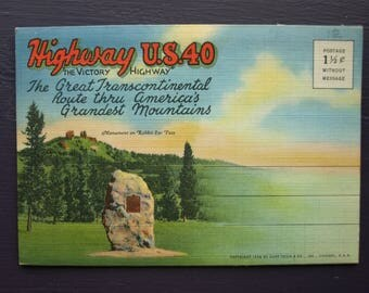 Highway U.S. 40 The Victory Highway Vintage Souvenir Foldout Folder Postcards