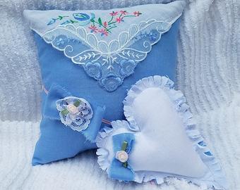 Vintage Hanky Newborn Photo Prop Pillow Set