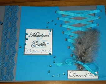 Book with gold Corset Cabaret feather Turquoise & gray 20 pages