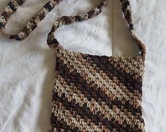 Crochet brown and Beige Small Bag