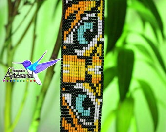 Tiger Eyes bracelet-Tiger bracelet-bracelet Tiger-Mexican handicrafts-Mexican jewelry-Chaquira Artesanal