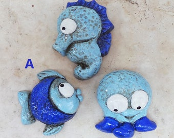 Three magnets seahorse, Octopus and fish to hang on the refrigerator in chalk paintings and hand-antiqued 3 magnets plaster sea