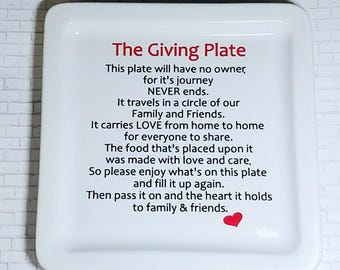 The Giving Plate - Serving Tray - Giving Plate - Housewarming Gift - New Mom Gift - Hostess Gift - Personalized