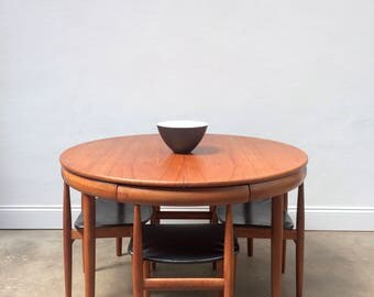 Hans Olsen for Frem Rojle Dining Table and 4 Chairs. Danish Retro Mid Century