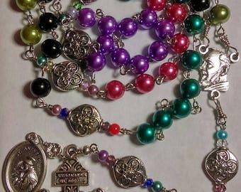 multi - colors St. Padre Pio catholic rosary w/ St. Anthony medal - handmade