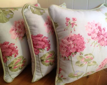 Handmade Laura Ashley Cushions in Geranium Pale Topaz with Bacall Piping