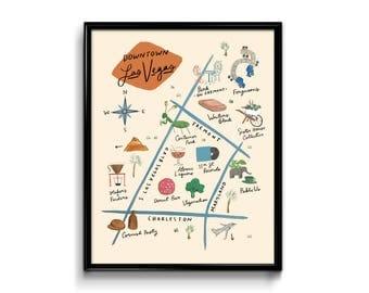Las Vegas Downtown Map Art Print 8x10 - Illustration