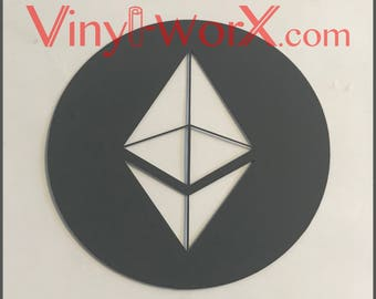 """Ethereum ETH Crypto Decal Sticker Vinyl Cryptocurrency Blockchain 3"""" 4"""" 5"""" 6"""" gifts mining miner"""