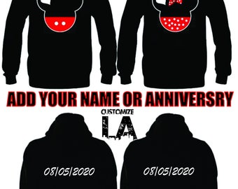 Personalize Mickey and Minnie mouse  matching sweaters,matching hoodies,his and hers,CARTOON, couple hoodies