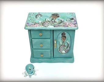 Mermaid Jewelry Box, Little Girls Jewelry Armoire, Hand Painted, Gift for Girl, Aqua Blue, Sea Creatures, Unique OOAK, Granddaughter Gift