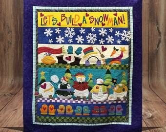 LET'S BUILD A Snowman PreCut PreFused Applique Kit, Quilt Kit, Applique, Snowmen, Snowflakes, Mittens, Winter Fun, Quilt Fabric, PreCut Kit