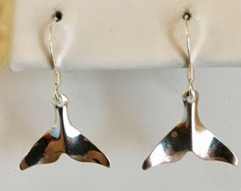 Sterling Silver Whale Tail Earrings
