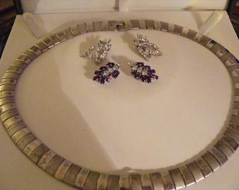 Vintage Necklace Plus 2 Pairs Of Vintage Earrings