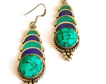 Lapis turquoise  tribal Earrings - Sterling Silver Lapis Earrings - Blue Lapis Dangle Earrings - Blue Stone Earrings - Lapis Jewelry, kuchi