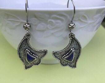 lapis silver earrings, tribal ethnic Earrings, statement earrings, lapis silver earrings, tribal jewelry, Ethnic Jewellery lapis lazuli,