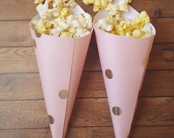 Pink paper cones, bridal shower party, brunch bridal shower, pop corn cones, confetti cones, peanut cones, favor cones, cones wedding.