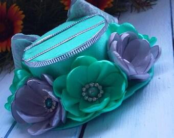 Mini Top Hat Green Mini Top Hat Headband Mini Top Hat Alice in Wonderland Party Hat Silver Mini Top Hat Tea Party Hat Fascinator Baby Hat