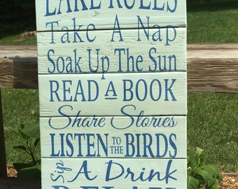 """Rustic sign """"Lake Rules"""" painting, lake rules sign, lake house decor, cottage decor, home decor, wood signs, pallet sign"""