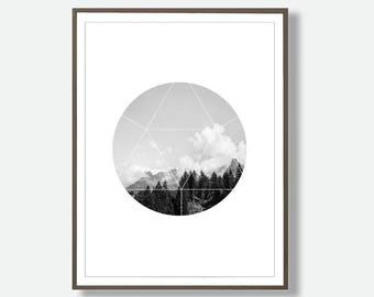 Mountain Prints, Landscape Print, Circle Shape, Circle Wall Art,  Printable Circle Art, Instant Printable Mountain Poster